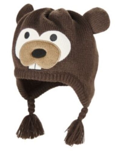 GYMBOREE SNOW CHILIN/' BROWN BEAVER SWEATER HAT 3 4 5 6 7 8 9 NWT