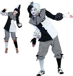 Pierrot Harlekin Clown Schwarz Weiss Damen Herren Kostum Karneval Hut