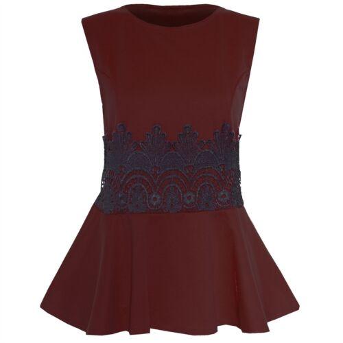 Womens Stretchy Plain Ladies Pleated Flared Sleeveless Waist Lace Peplum Top