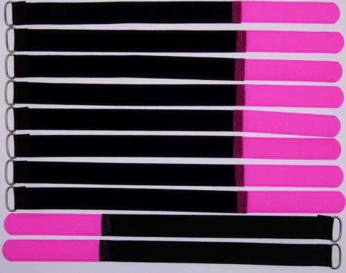 10x Kabelklett Klettband 300 x 20 mm neon pink Öse Klett Kabelbinder Klettbänder