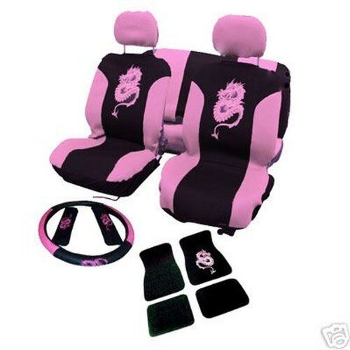DELUX MESH Car seat covers mat set 13 PIECE seat pads wheel cover PINK girl