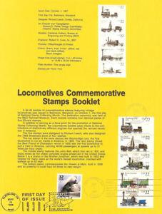 USPS-Souvenir-Page-8734-w-5-Locomotives-2362-66a-CTC-Streamliner-w-FDC