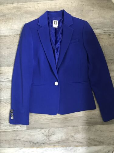 Button Size 2 Anne Separates Klein NWOT Suit Front Blu Electric da lavoro Giacca z7PaUx