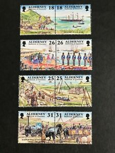 Alderney - 1997 Garrison Island (1ST Series) Setenant pares NHM SG A102-A109