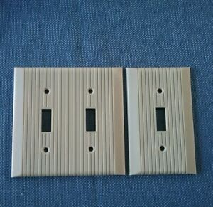 Cover Art Deco Ribbed Vintage Ivory Bakelite Electrical Switch Plate