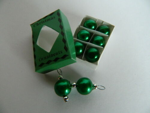 X.24 DOLLS HOUSE CHRISTMAS SET OF GREEN TREE BAUBLES