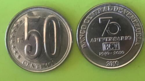 Venezuela Coins 50 Centésimos 2010 Commemorative 70 Aniversario BCV UNC