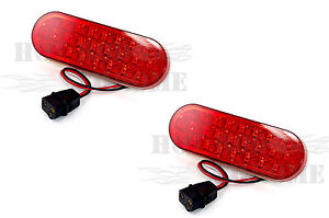2x6-Oval-Light-25-Red-Diodes-with-Red-Lens-Truck-Trailer-Side-Grille-Marker