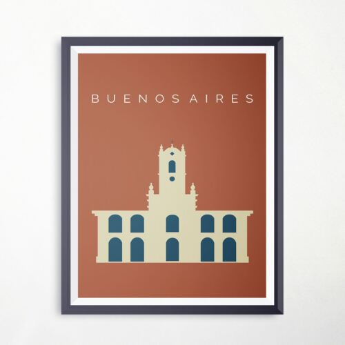 Argentina Buenos Aires Cabildo Travel Poster Landmark Print Retro