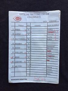 Mets Vs Reds Original Batting Order Lineup Card June 22