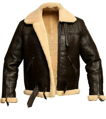 RAF B3 Pilot WWII Winter Real Shearling Sheepskin Leather Bomber Aviator Jacket