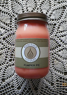JAR CANDLE...HERITAGE CANDLES BRAND..Pumpkin Pie...Highly Scented.16 Ounce..