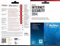 Mcafee Internet Securtiy 2014 3 Pcs Cd Key No Cd Upgraded To 2016 Per-softw