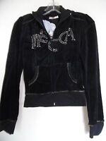 Mecca Femme Womens Junior Velour Jacket Black Embellished Size Small