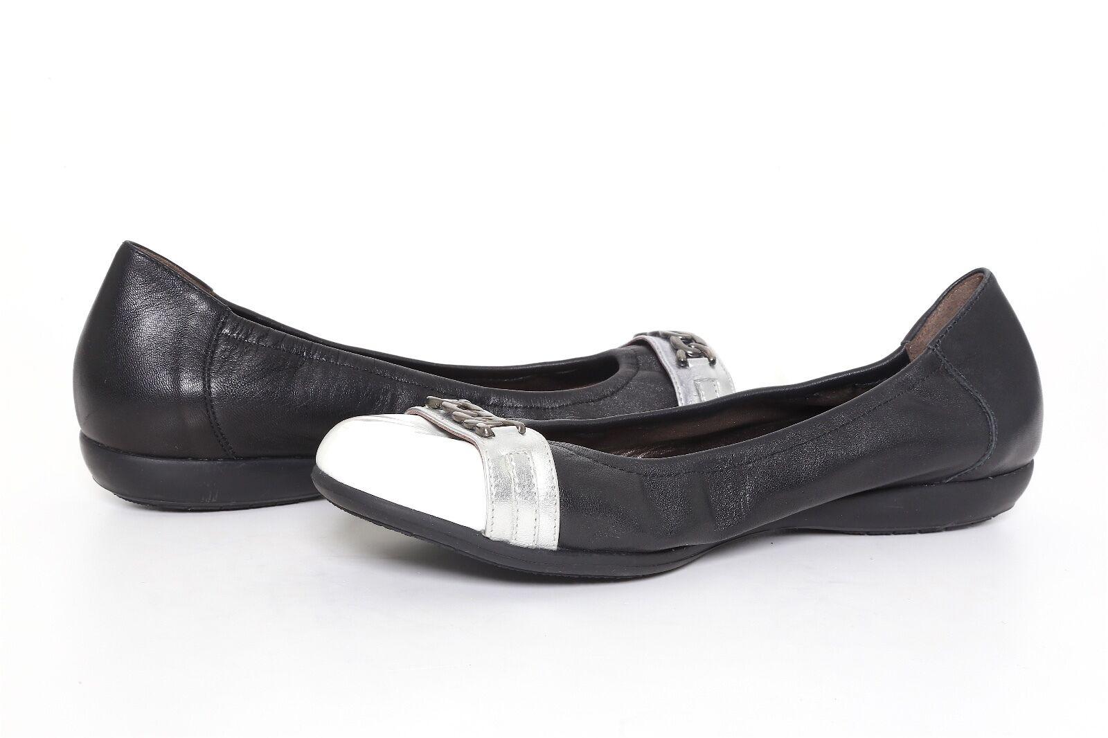 Mephisto Women's Black White White White Leather Ballet Cap Toe Flats 1785 Sz 10 US 7.5 EUR 58d917