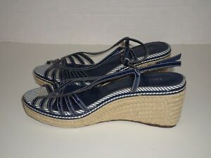 569ae73d5b5 Details about Etienne Aigner Posey Women's Navy Leather Open Toe Espadrille  Wedge Heels Sz 7.5
