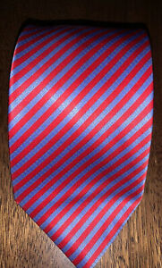 Recent-Stefano-Ricci-Bright-Red-with-Blue-Striped-Silk-Tie-Made-in-Italy