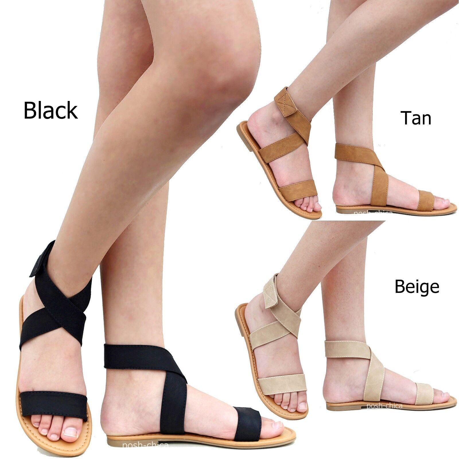 New Women CFld Wrap Black Pink Tan Beige Gladiator Ankle Wrap CFld Flat Sandals e4344b