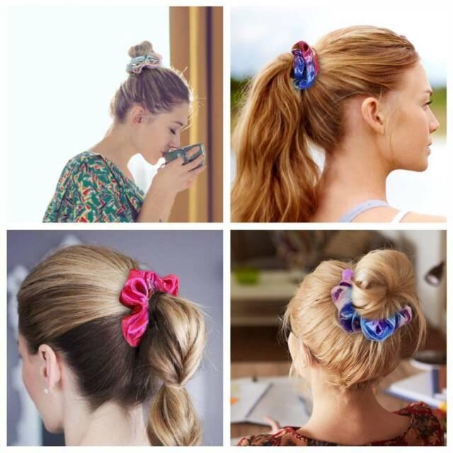 2//4//8x Shiny Metallic Hair Scrunchies Ponytail Holder Elastic Ties Band Girls Dw
