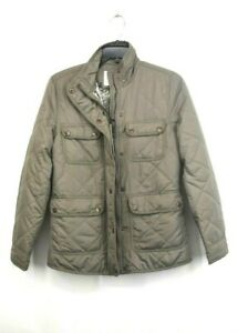 Thread & Supply Womens Green Front Zip Up Fleece Lined Quilted Utility Jacket XS
