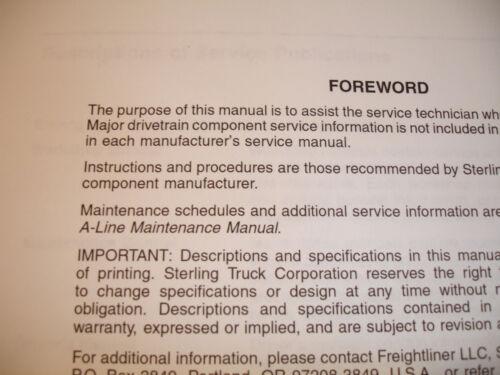 Sterling Freightliner Factory L Line /& A Line WORKSHOP MANUAL Set Shop Service