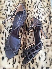 Sergio Rossi Trelliced Leather Peep Toe Sandals Uk Size 6 Excellent Condition
