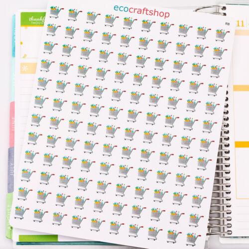 SUPER MARKET GROCERIES FRUIT SHOPPING CART Condren Life Erin Planner Sticker R8