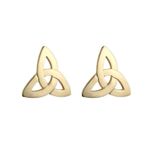 9ct 9k Yellow Gold Irish Celtic Trinity Knot Stud Earrings by Solvar s3659