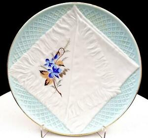 VICTORIAN-GERMAN-PORCELAIN-OPEN-NAPKIN-amp-FLORAL-BLUE-8-1-4-034-CABINET-PLATE-1800s