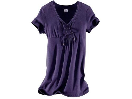 Sheego Damen Longshirt Tunika trendy Bindebändchen Baumwolle lila Gr 40//42