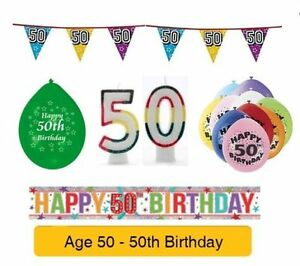 Image Is Loading AGE 50 Happy 50th Birthday Party Banners Balloons