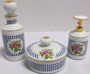 VINTAGE-DeVILBISS-3-Pc-Vanity-Dresser-Set-1960-039-s-Perfume-Powder-Jar