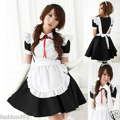Lovely Halloween Costume  French Maid Fancy dress outfit +headband +gloves