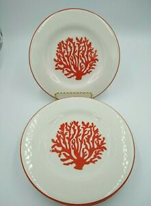 American-Atelier-Earthenware-Salad-Plates-4-SUNSET-CORAL-8-5-8-034-Beach-Theme