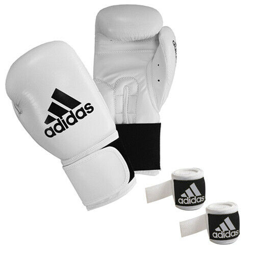 White 3.5m Hand Wrap Boxing Set Adidas Performer Glove