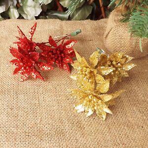 RED-o-GOLD-GLITTER-Clip-on-3-HEAD-Poinsettia-SPRAY-DECORAZIONE-ALBERO-DI-NATALE