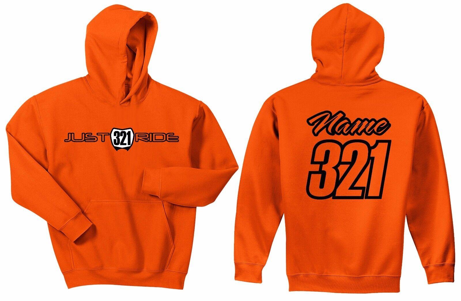 MOTOCROSS NUMBER PLATE HOODIE SWEAT SHIRT MX MOTO JUST RIDE Orange KTM