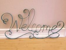 NEW WELCOME METAL HOME WALL ART DISPLAY PLAQUE turquoise scroll decor accent 3d