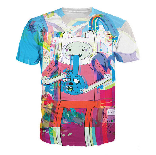 New Womens/Mens JJake and Finn the Adventure Time psychedelic 3D Print T-Shirt
