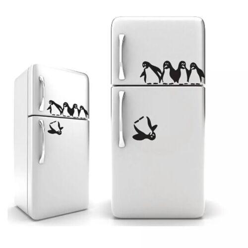Autocollant Drôle Pingouins réfrigérateur mural 3d Sticker Image Deco Vinyle NEUF