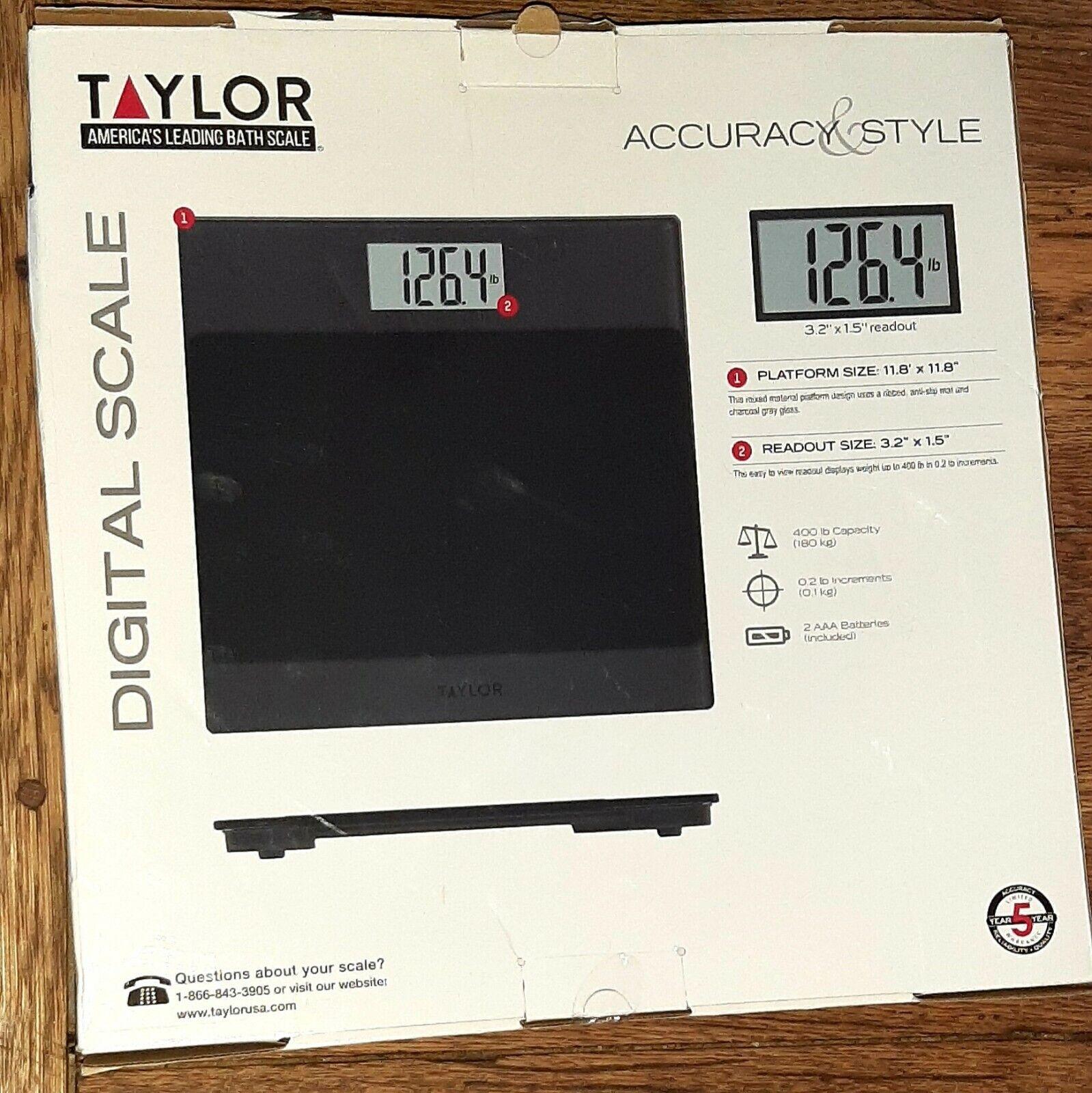 NEW TAYLOR 400 LB DIGITAL ANTI SLIP MAT BATHROOM SCALE BLACK 2- AA BATTERIES INC