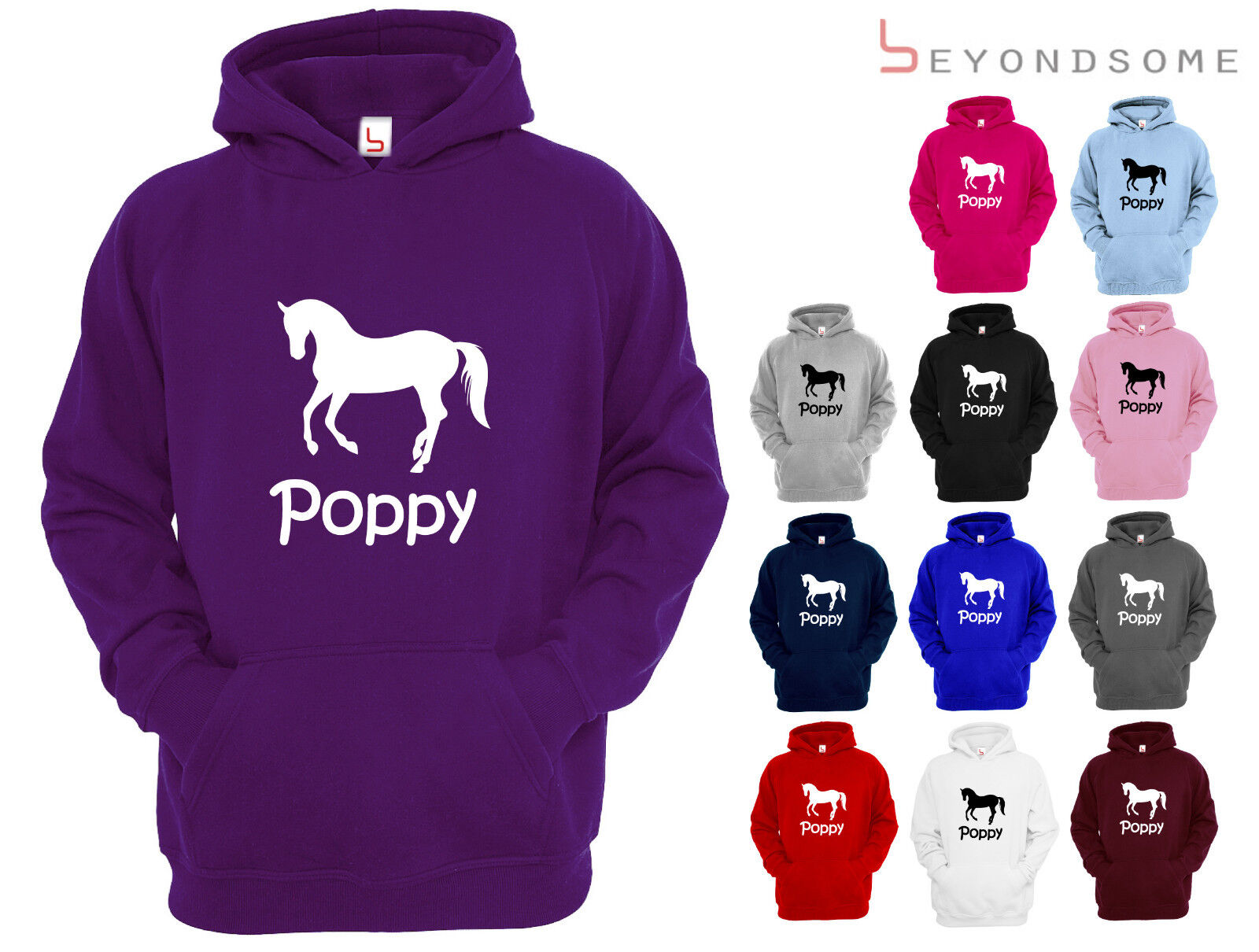 NEW GIRLS PERSONALISED HORSE RIDING HOODIE PONY HOODY CHILDRENS AGES 1-12