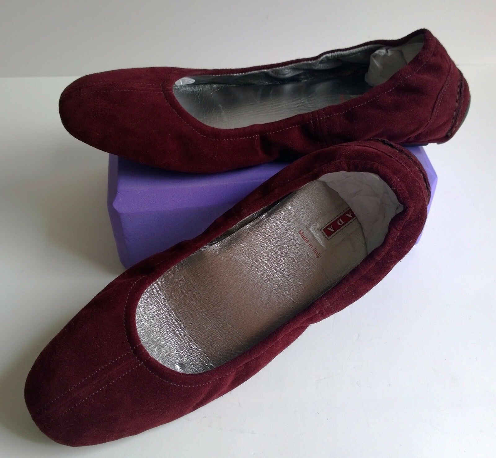 PRADA Burgundy Suede Moccasins Flats Leather Ballet shoes Sz 9.5