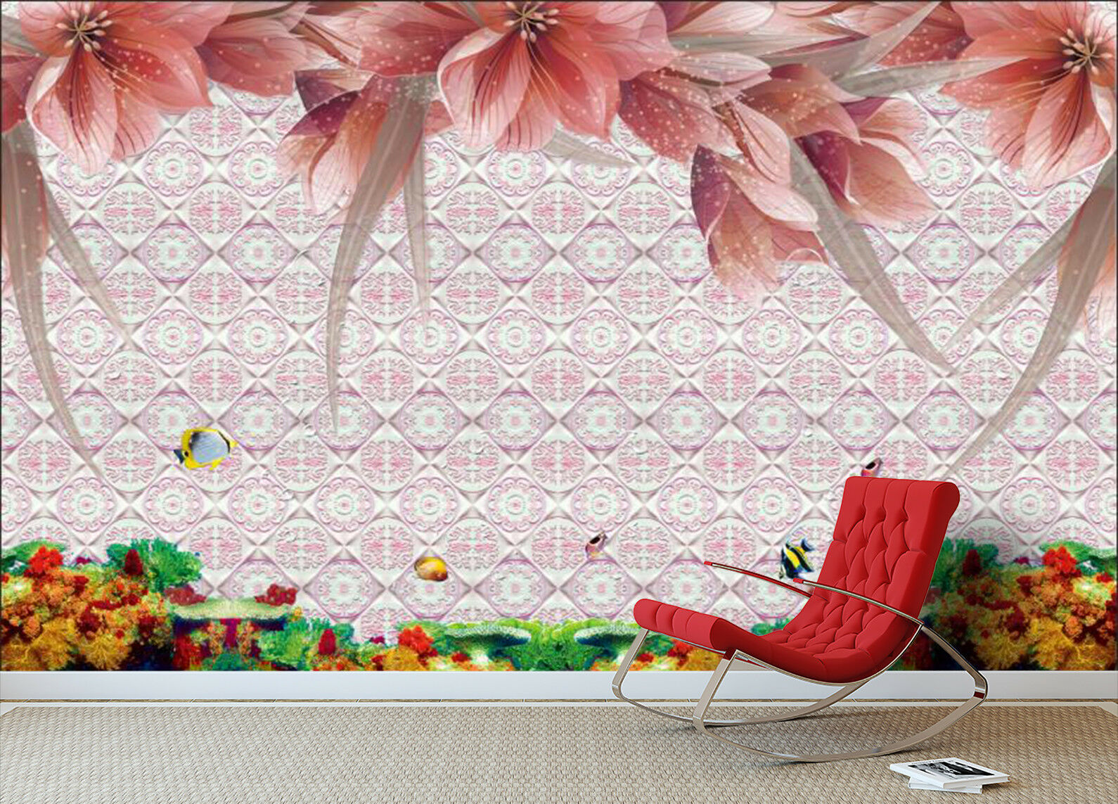 3D Seabed Flowers Flowers Flowers 99 Wall Paper Murals Wall Print Wall Wallpaper Mural AU Carly be6250