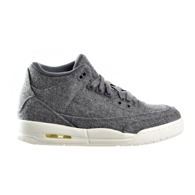 Kids Air Jordan Retro 3 III GS Wool Dark Grey Sail 861427 004 US 7y