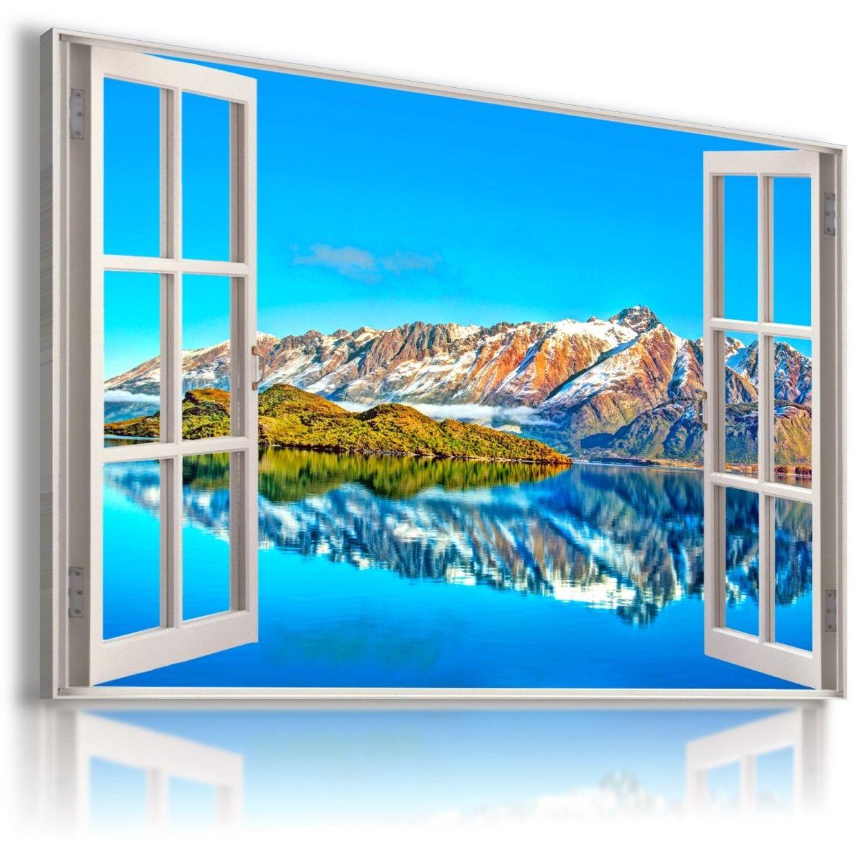 Montagne fiume inverno 3D finestra vista a Muro ARTE foto LARGE W112 mataga