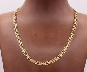 Solid-All-Shiny-Diamond-Cut-Bizmark-Bismark-Chain-Necklace-Real-14K-Yellow-Gold