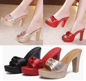 Womens-Slip-On-Bow-Sandals-Ladies-High-Heels-Platform-Block-Shoes-Peep-Toe-Mules
