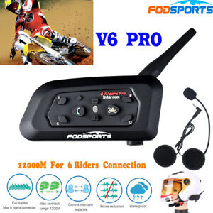 Detalles de 2x 1200M Bluetooth Moto Casco Intercomunicador V6 Pro BT Interphone Auriculares
