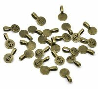 50 Antique Silver Glue On Bail 10mm Round Antiqued Brass/gold Plated 18x10mm